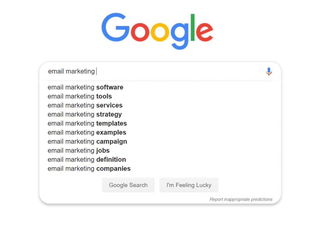 کلمات کلیدی پیشنهادی گوگل